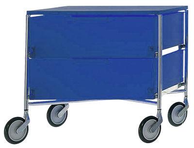 Foto Cassettiera con rotelle Mobil - 2 cassetti di Kartell - Blu - Materiale plastico