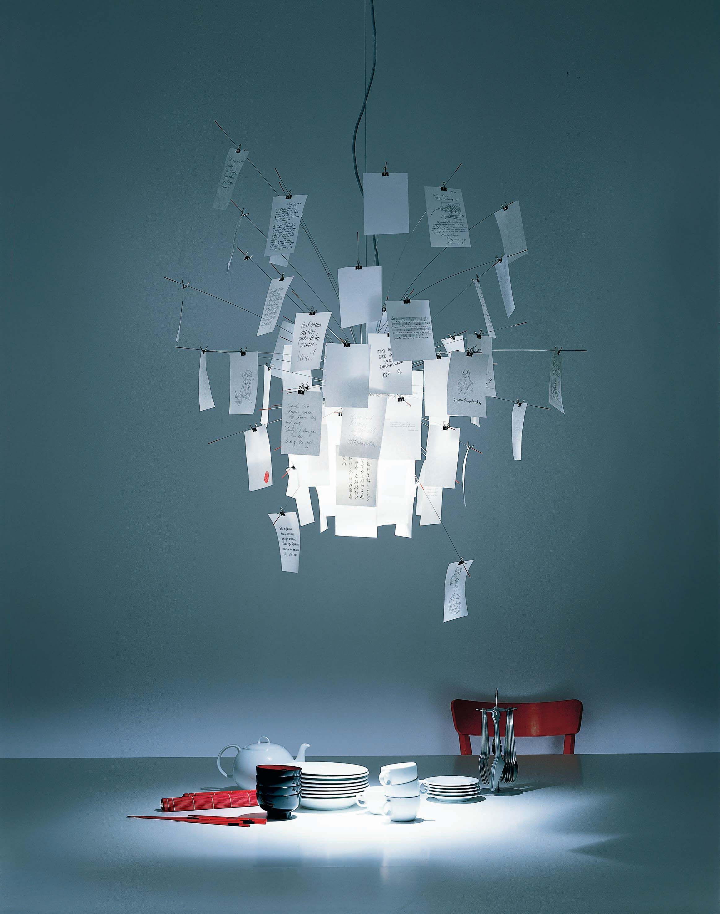 Suspension zettel 39 z 5 inox papier blanc et imprim for Pescatore luminaire