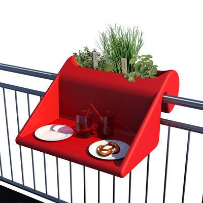balkonzept beistelltisch zum aufh ngen f r den balkon mit integriertem blumenkasten rot by. Black Bedroom Furniture Sets. Home Design Ideas