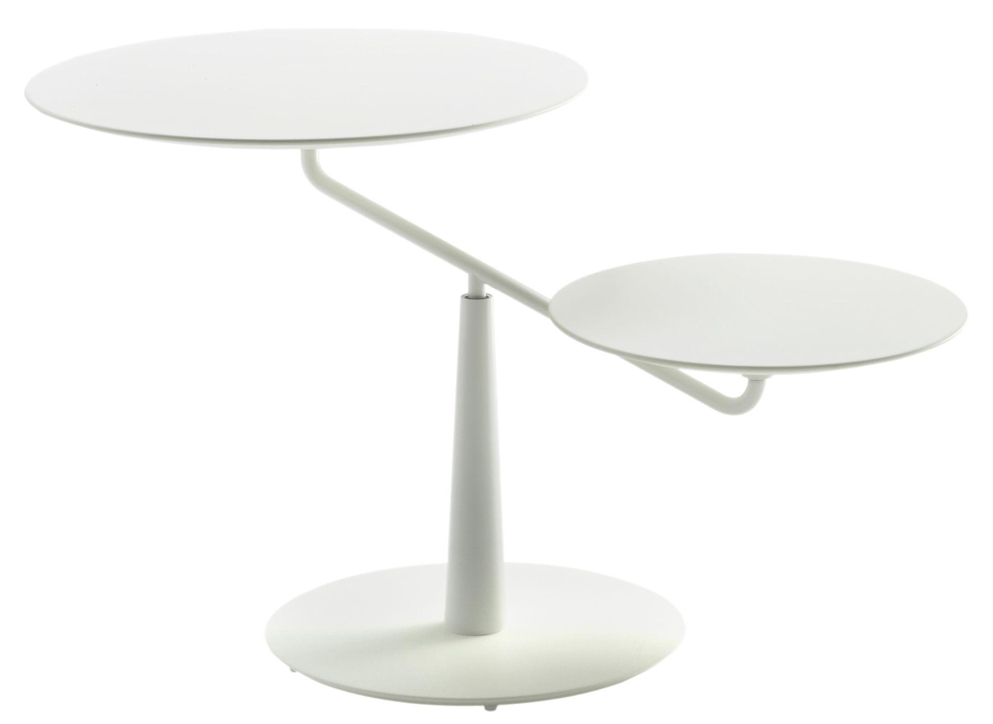 Table Basse Saturno 2 Plateaux Pivotants Blanc De Padova