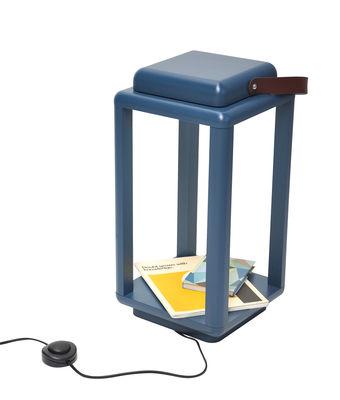 Luminaire - Lampes de table - Lampe Nauset Small / LED - H 40 cm - Valsecchi 1918 - Bleu canard / Cuir marron - Cuir pleine fleur, Frêne peint