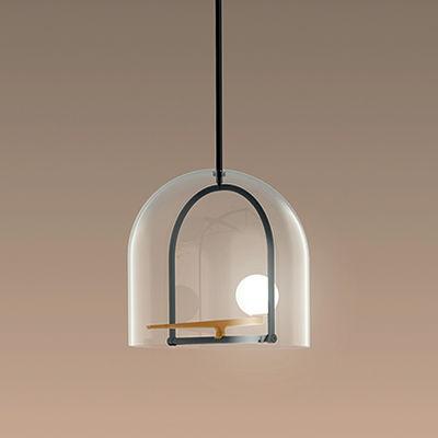 Yanzi S Pendelleuchte / LED - Ø 35 x H 35 cm - Artemide - Weiß,Schwarz,Transparent,Messing
