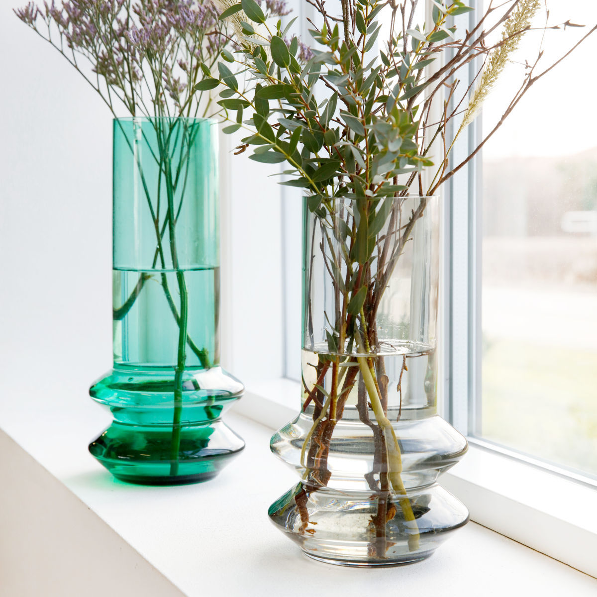 forms vase 14 x h 30 cm glass high green by house doctor. Black Bedroom Furniture Sets. Home Design Ideas