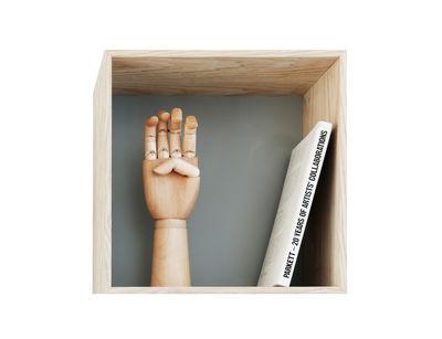 Mobilier - Etagères & bibliothèques - Etagère Mini Stacked / Medium carré 33x33 cm / Avec fond coloré - Muuto - Frêne & fond gris - MDF plaqué frêne
