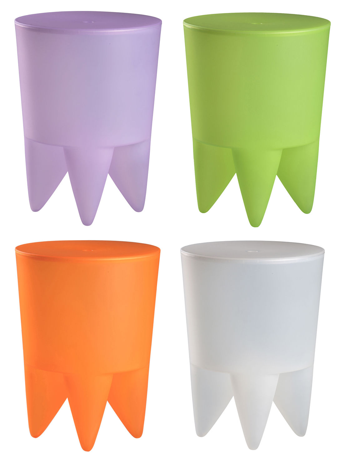 Miniature mini bubu set de 4 tabourets violet vert orange - Tabouret bubu philippe starck ...