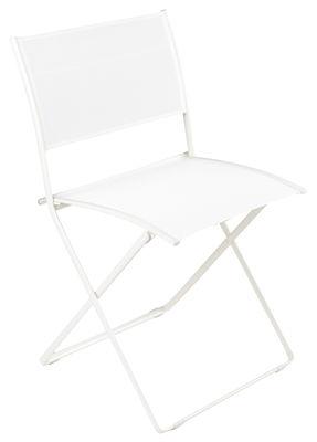 Mobilier - Chaises, fauteuils de salle à manger - Chaise pliante Plein Air / Toile - Fermob - Blanc - Acier galvanisé, Toile
