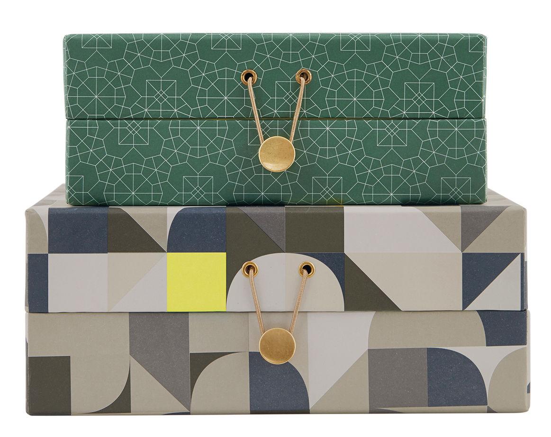 colours large schachtel 2er set gr n grau by house doctor made in design. Black Bedroom Furniture Sets. Home Design Ideas