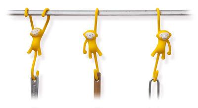 Crochet Just hanging Lot de 3 Pa Design jaune en matière plastique