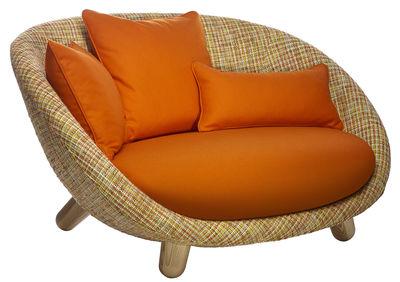 Mobilier - Canapés - Canapé droit Love / 2 places - L 130 cm - Moooi - Multicolore / Coussins orange / Pieds bois - Acier, Chêne, Mousse, Tissu