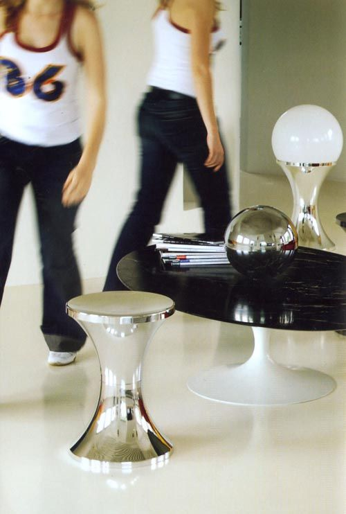 tam tam chrom stool silver by stamp edition. Black Bedroom Furniture Sets. Home Design Ideas