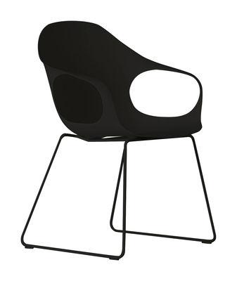 Mobilier - Chaises, fauteuils de salle à manger - Fauteuil Elephant Luge / Coque plastique & pieds métal - Kristalia - Noir - Polyuréthane laqué