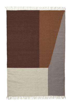 Tapis Kelim Borders / Large - 140 x 200 cm - Ferm Living marron,gris,crème en tissu