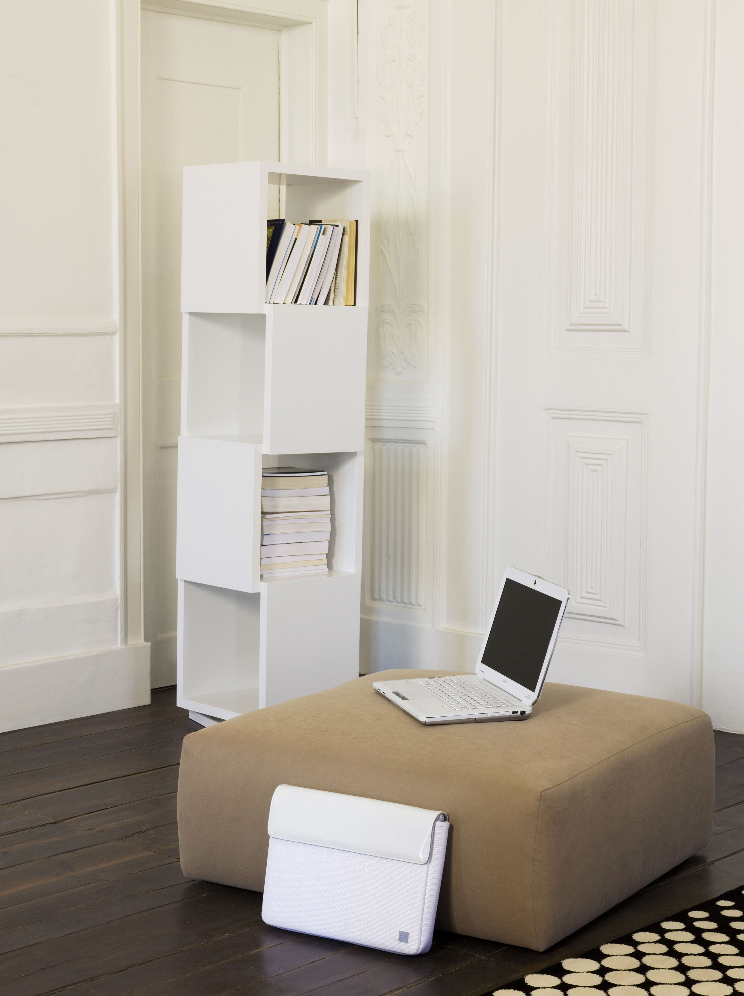 biblioth que rotative rotary h 156 cm blanc mat pop up home. Black Bedroom Furniture Sets. Home Design Ideas