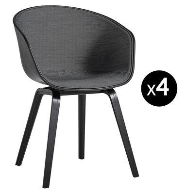 Fauteuil rembourré About a chair AAC22 Lot de 4 3 achetés 1 OFFERT Hay gris,noir en matière plastique