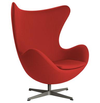 Poltrona girevole Egg chair - tessuto Fame di Fritz Hansen - Rosso - Tessuto
