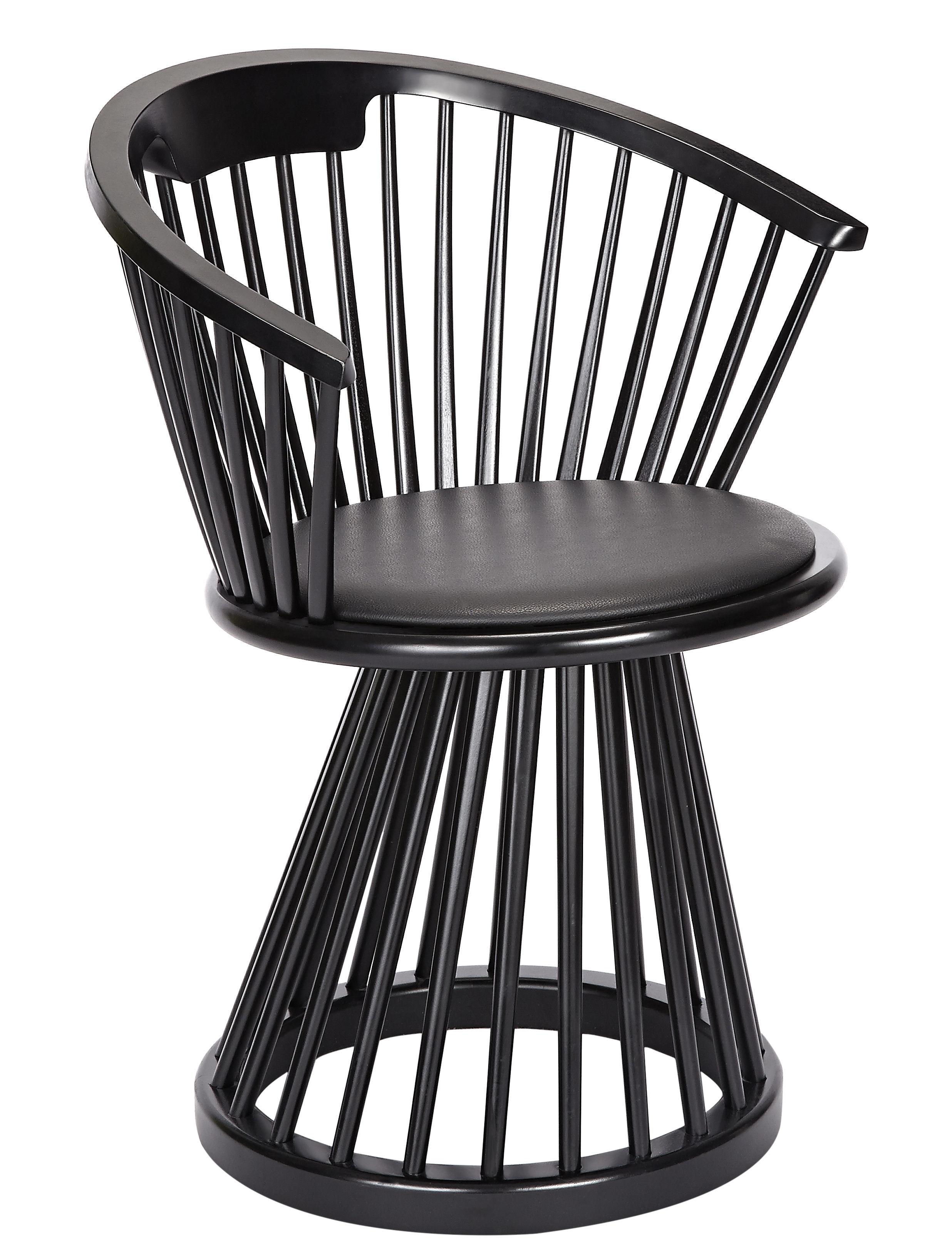 Fan Armchair - H 78 cm - Wood & leather Black / Black ...