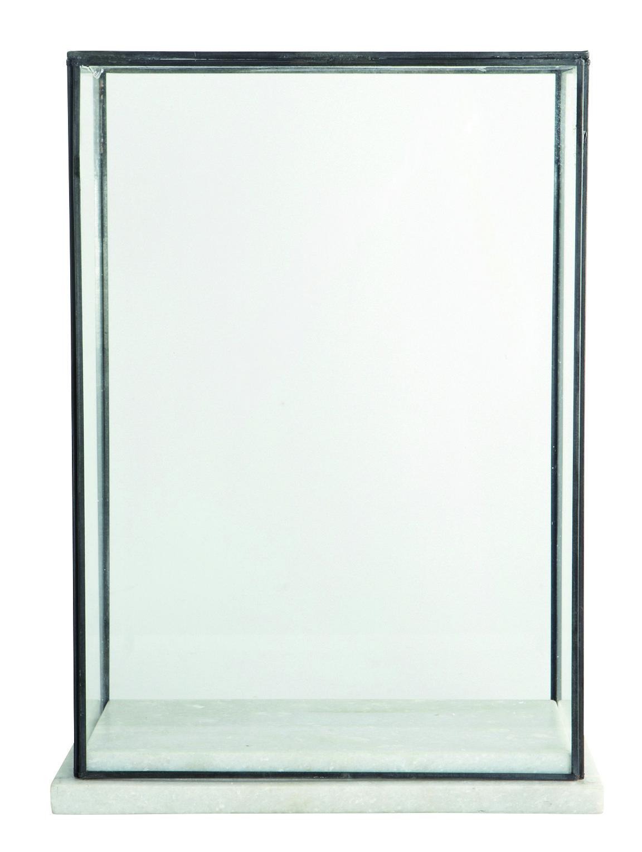 vitrine marbel verre marbre h 38 cm marbre blanc. Black Bedroom Furniture Sets. Home Design Ideas