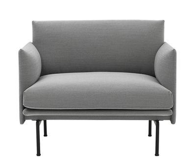 Outline Gepolsterter Sessel / Stoffbezug - Muuto - Hellgrau, meliert