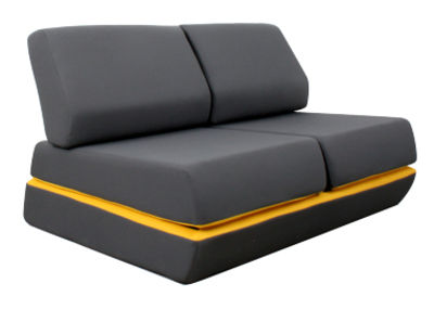 canap convertible d 39 night l 150 cm gris anthracite jaune dunlopillo. Black Bedroom Furniture Sets. Home Design Ideas