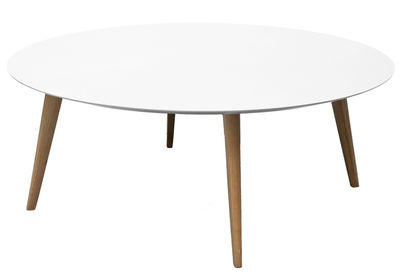 Lalinde Couchtisch rund - XXL Ø 95 cm / Tischbeine aus Holz - Sentou Edition - Weiß,Eiche