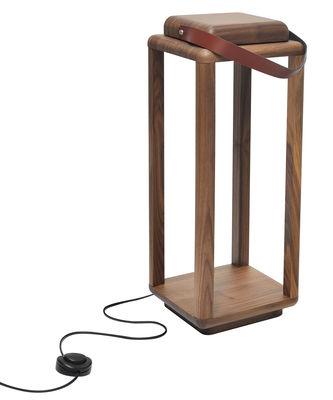 Luminaire - Lampes de table - Lampe Nauset Large / LED - H 63 cm - Valsecchi 1918 - Noyer / Cuir marron - Cuir pleine fleur, Noyer massif