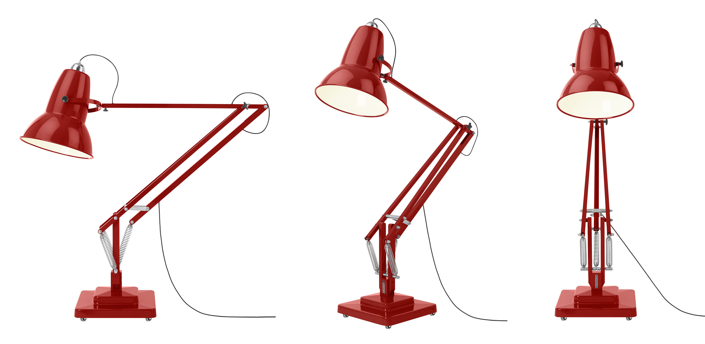 Lampadaire giant 1227 h 270 cm rouge anglepoise - Luminaire industriel la giant collection par anglepoise ...