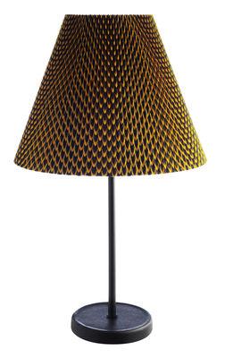 Luminaire - Lampes de table - Lampe de table Accordéon Fishscale / Métal & tissu Wax by Vlisco - wrong.london - Jaune & bordeaux / Motifs Fishscale - Acier peint, Tissu plissé élastique