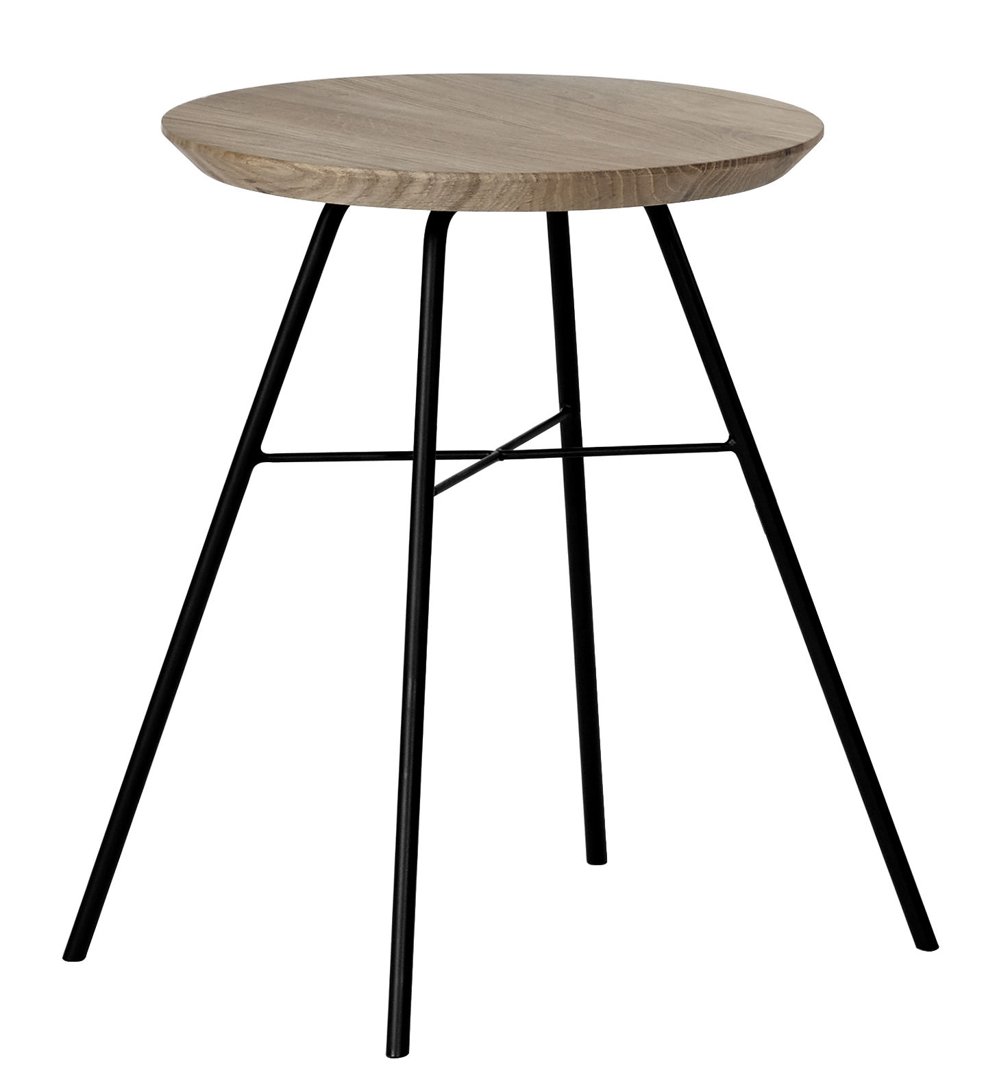 Disc stool wood metal h cm natural oak black by