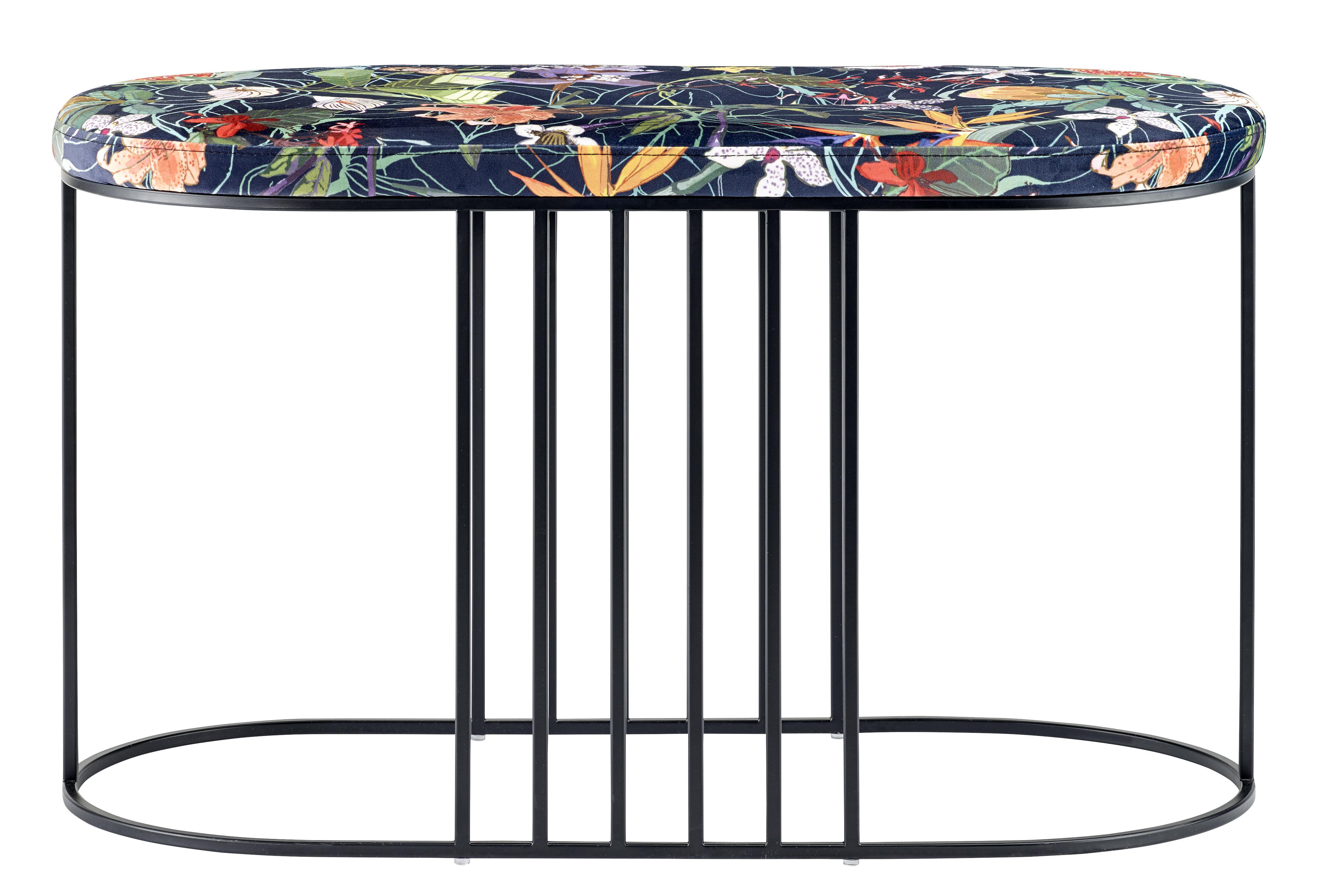 banc rembourr posea velours l 80 cm fleuri base bleu marine bolia. Black Bedroom Furniture Sets. Home Design Ideas