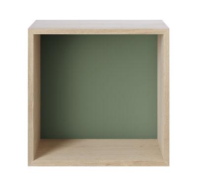 Foto Scaffale Mini Stacked - / Medio quadrato 43x43 cm / Con fondo colorato di Muuto - Frassino,Verde cenere - Legno