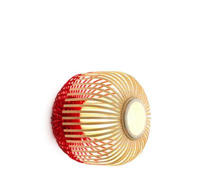 Luminaire - Appliques - Applique Bamboo light XS / Plafonnier - Ø 27 x H 20 cm - Forestier - Rouge / Naturel - Bambou naturel, Tissu