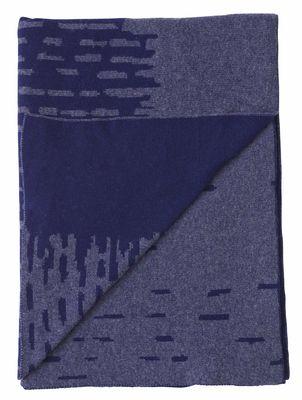 Plaid Rain / Laine - 190 x 130 cm - Menu bleu en tissu