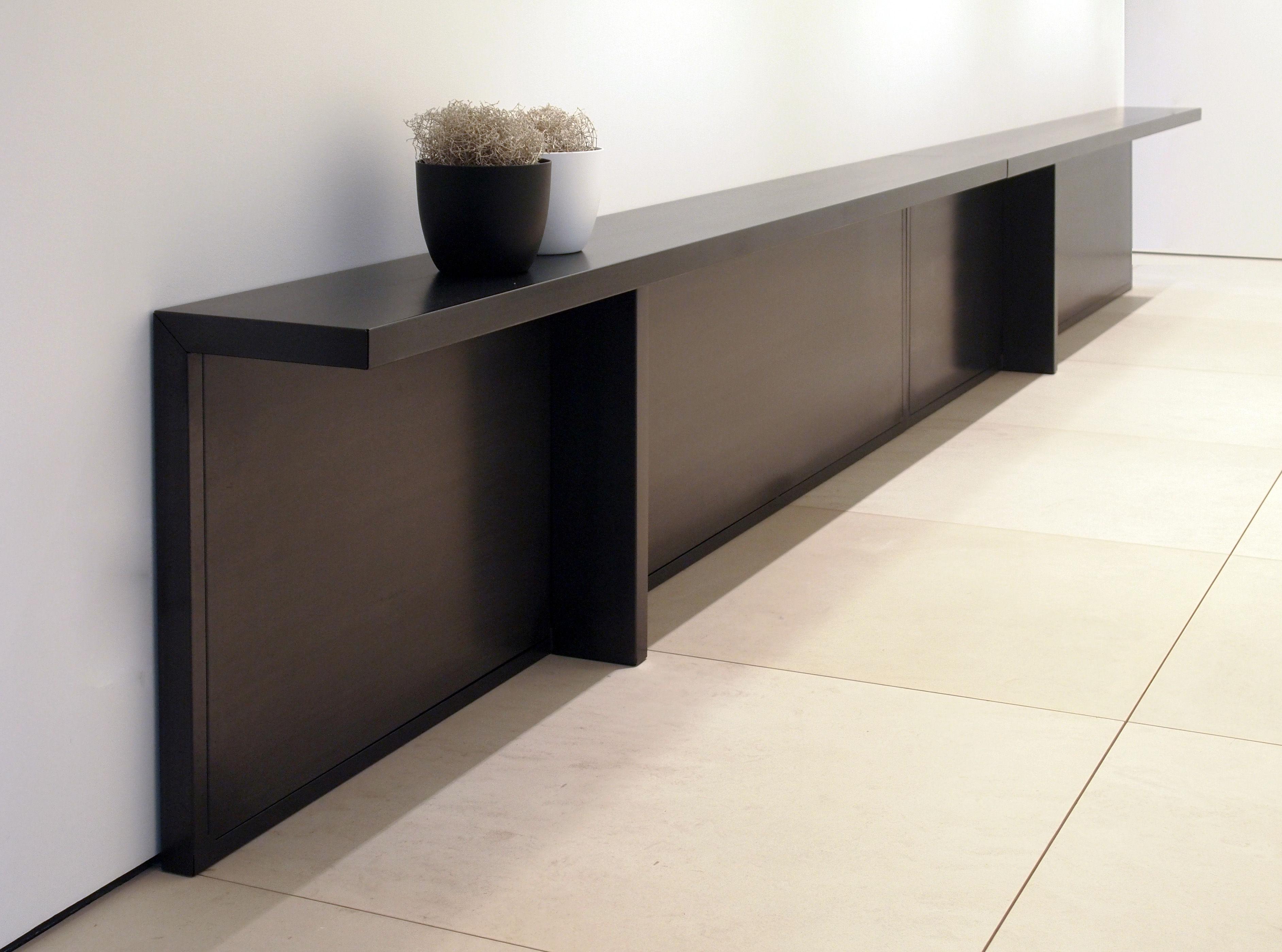 console atrium m tal l 283 x p 30 cm m tal noir zeus. Black Bedroom Furniture Sets. Home Design Ideas