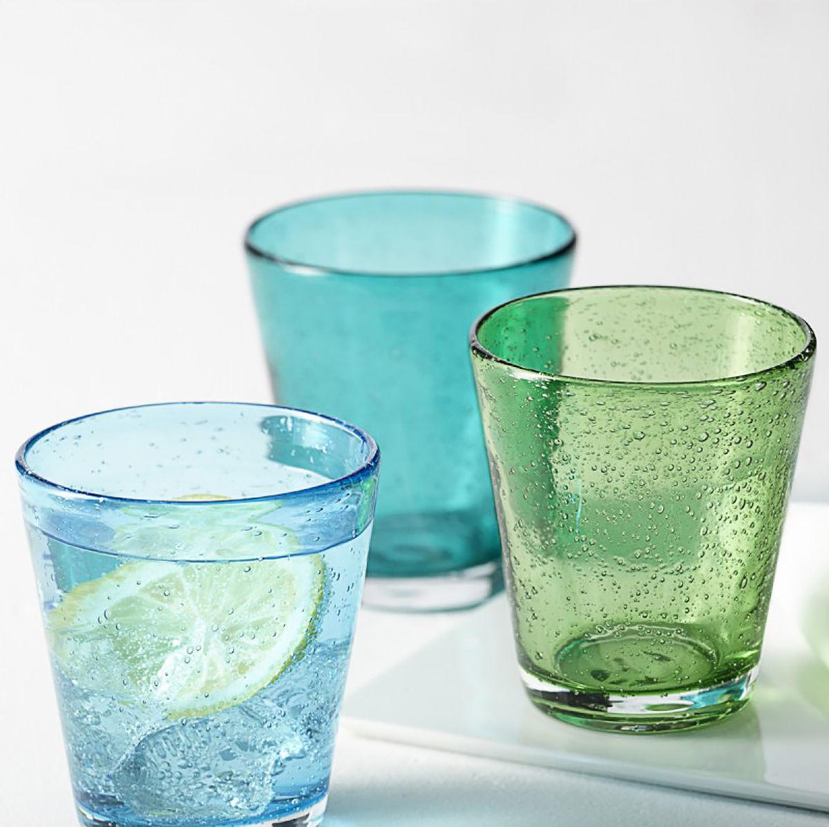 Burano Glass Set Of 4 Hand Made Cold Colors By Leonardo