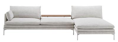 Mobilier - Canapés - Canapé d'angle William / Tissu - L 328 cm - Angle à droite - Zanotta - Gris clair / Noyer - Acier, Aluminium, Noyer massif, Polyuréthane, Tissu