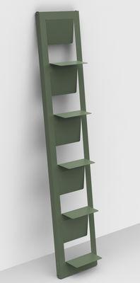 Bibliothèque Pampero / à poser - H 185 cm - Matière Grise kaki en métal