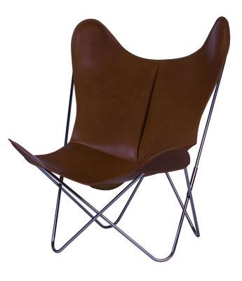 Chaise AA Butterfly / Cuir - AA-New Design marron foncé en cuir