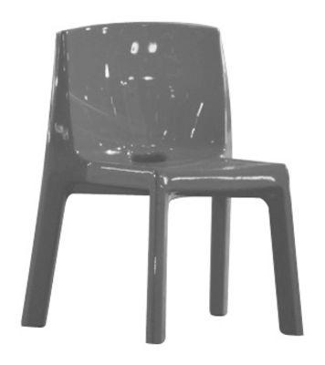 Mobilier - Chaises, fauteuils de salle à manger - Chaise Q4 / Plastique laqué - Slide - Laqué gris - Polyéthylène