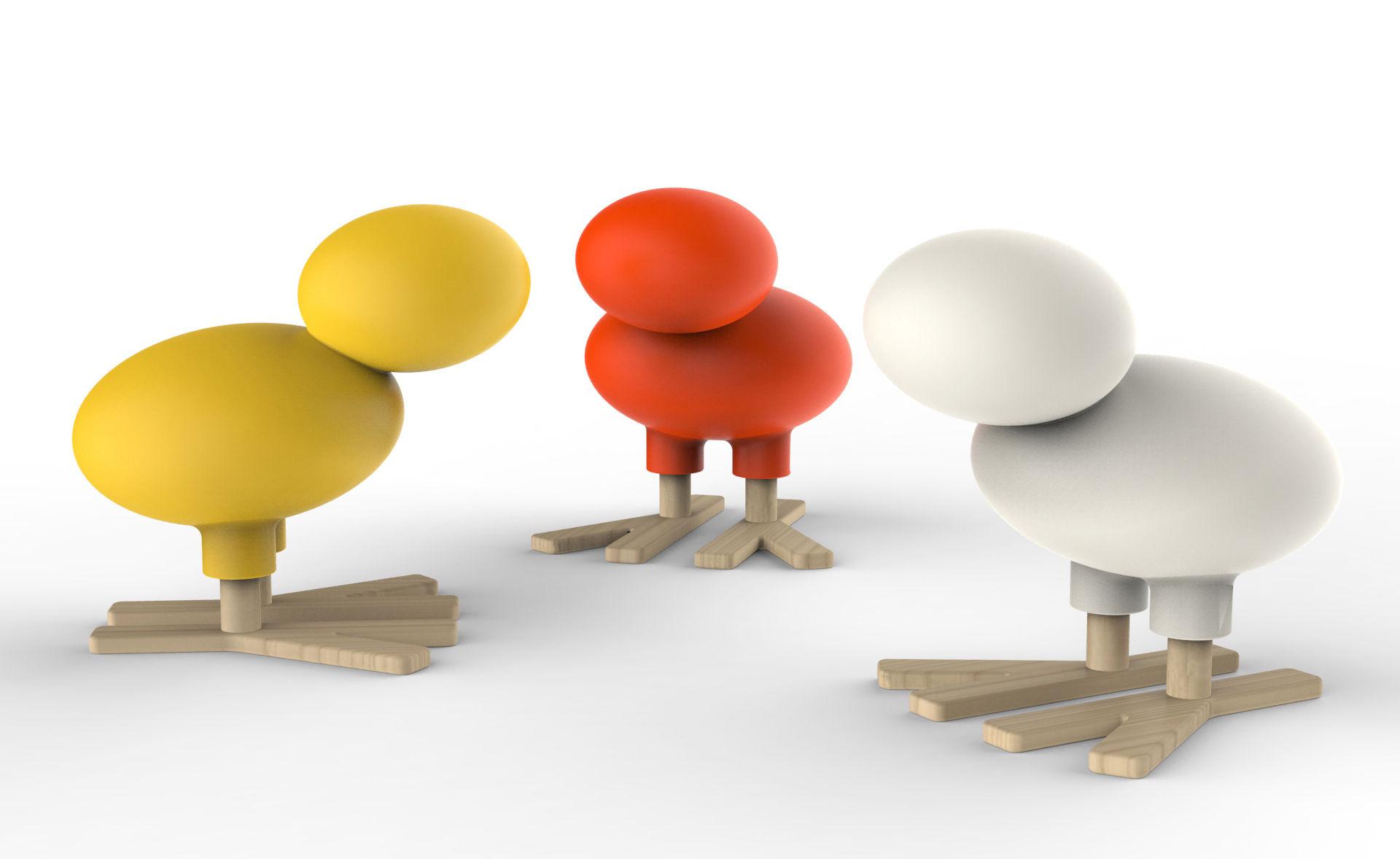 D coration happy bird d coration h 66 cm jaune bois for Magis design