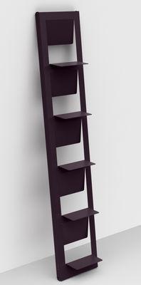 Bibliothèque Pampero / à poser - H 185 cm - Matière Grise aubergine en métal