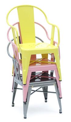 fauteuil enfant mouette acier laqu int rieur rose p le tolix made in design. Black Bedroom Furniture Sets. Home Design Ideas