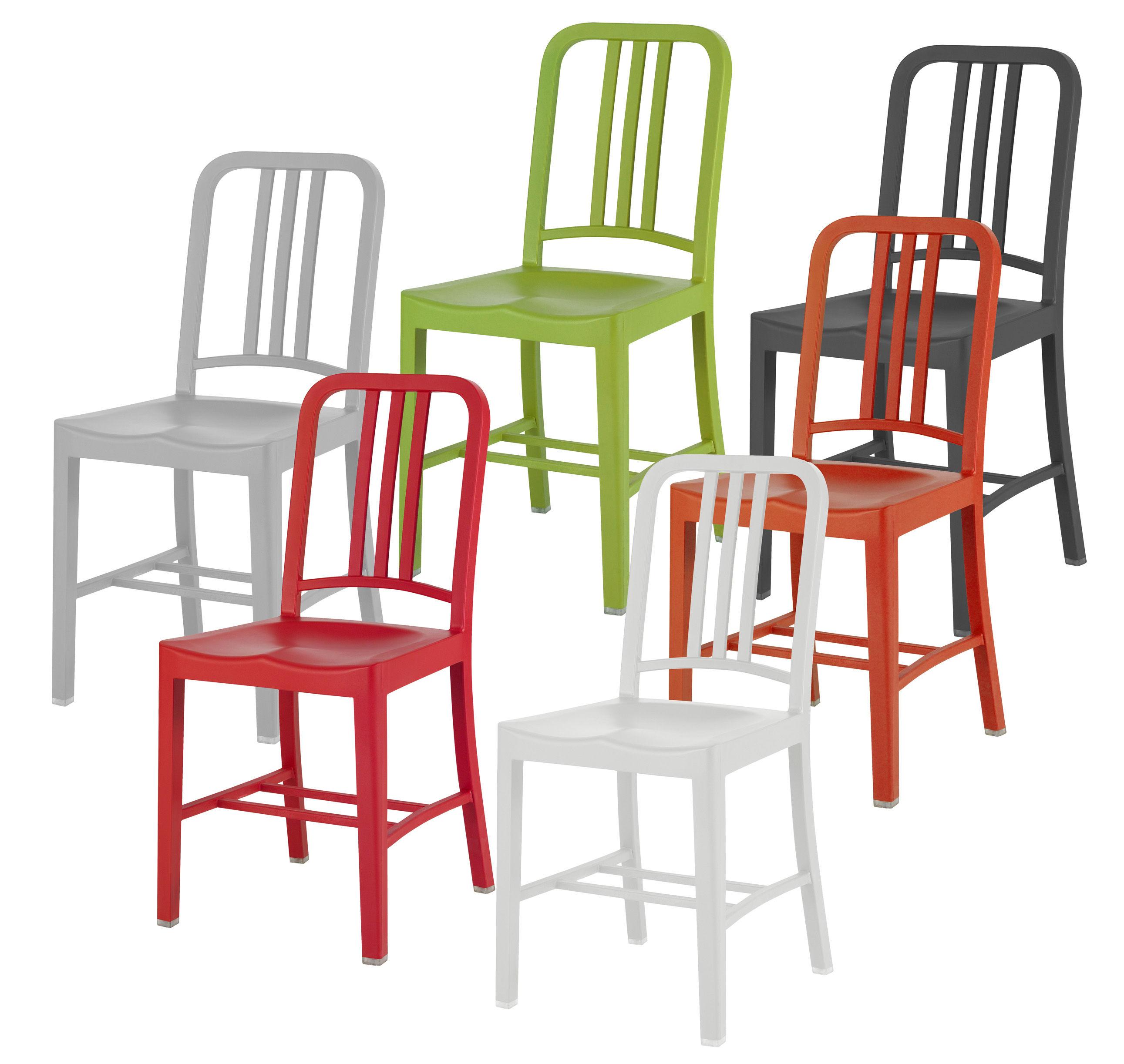111 navy chair indoor sedia arancione by emeco made in design. Black Bedroom Furniture Sets. Home Design Ideas