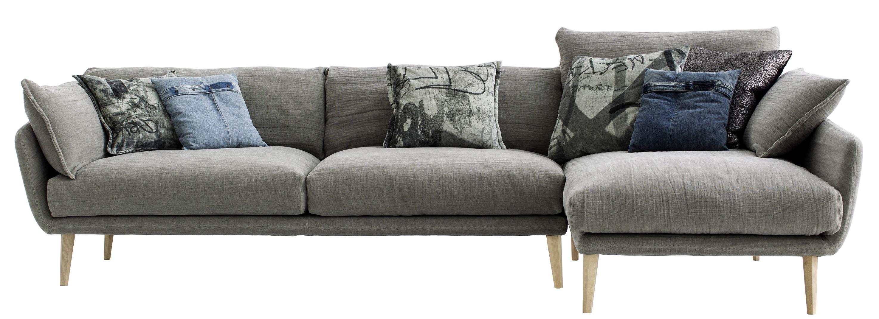 canap d 39 angle sister ray l 267 cm compo canap 2 places m ridienne gris pieds bois. Black Bedroom Furniture Sets. Home Design Ideas