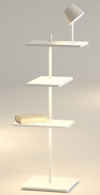 Mobilier - Etagères & bibliothèques - Etagère lumineuse Suite / H 112 cm / Lampe & port USB - Vibia - Blanc - Métal laqué, Polycarbonate