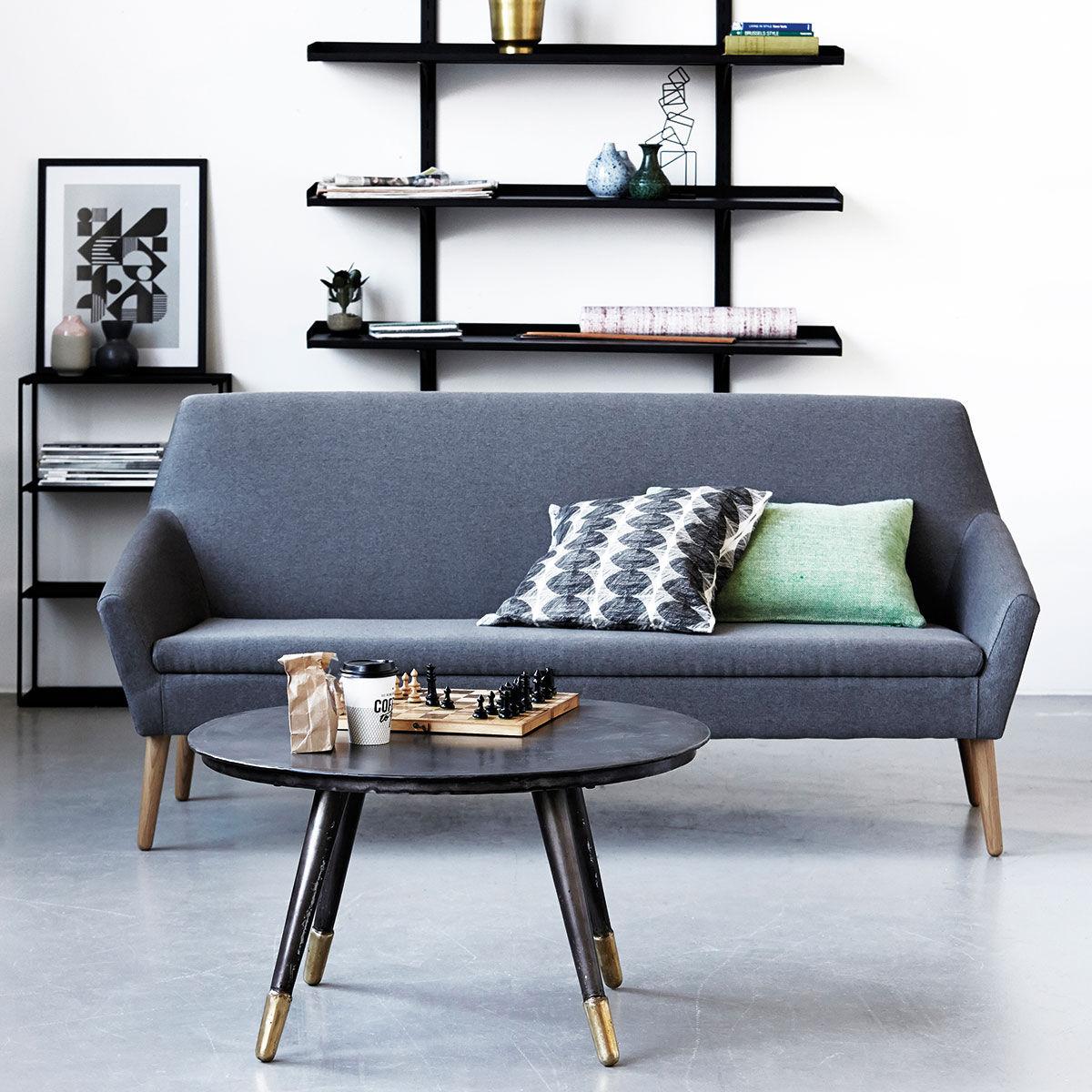 kant sofa 3 sitzer l 180 cm stoff eiche grau meliert f e eiche by house doctor. Black Bedroom Furniture Sets. Home Design Ideas