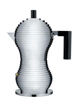 Cuisine - Cafetières - Cafetière italienne Pulcina / 3 tasses - Alessi - Chromé / Noir - Fonte d'aluminium, Plastique