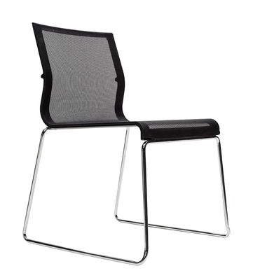 Furniture   Chairs   Stick Chair Stacking Chair   Fabric Seat By ICF    Black Mesh