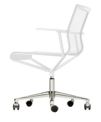Foto Poltrona a rotelle Stick Chair - girevole - Seduta a rete di ICF - Bianco,Metallo lucidato - Tessuto