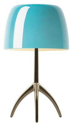 Lampe de table Lumière Grande / Variateur - H 45 cm - Foscarini turquoise,champagne en métal
