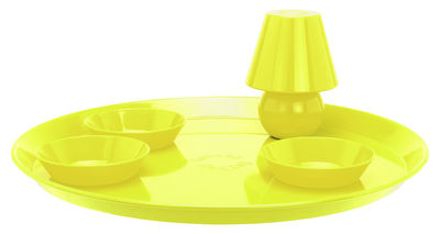 Plateau Snacklight Ø 55 cm / Avec lampe LED aimantée + 3 coupelles - Fatboy jaune en métal